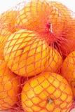Orangen in einem Netz Stockbilder
