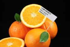 Orangen mit einem Zeichen   Lizenzfreie Stockfotos