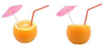 Orangen mit Stroh stockbilder