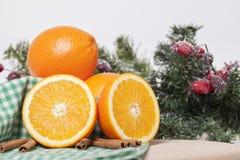 Orangen mit Zimt Lizenzfreie Stockfotos