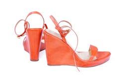 orangen shoes kvinnan royaltyfri fotografi