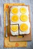 Orangen- und Kürbiskuchen Stockfoto