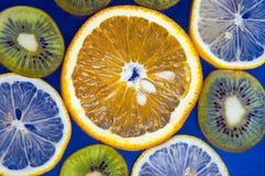 Orangen- und Kiwischnitt Stockbild