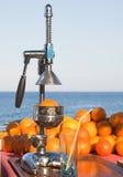 Orangen und manuelle Presse Stockfoto