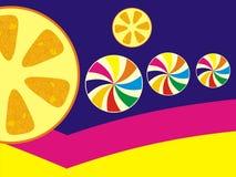 Orangen- und Süßigkeitskunsttapete stockfoto