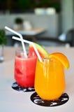 Orangen und Wassermelone Smoothie Stockfotos