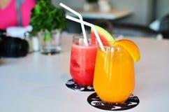 Orangen und Wassermelone Smoothie Stockbild