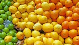 Orangen, Zitronen u. Kalke stockbild