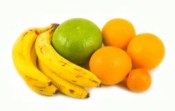Orangenbananentangerine und grüne Pampelmuse Stockfoto