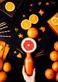 Orangensaft-Ebenenlage des Detox Stockfotografie