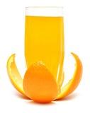 Orangensaft in einem Glas auf Rinde lizenzfreies stockbild