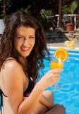 Orangensaft an einem heißen Tag Stockbild