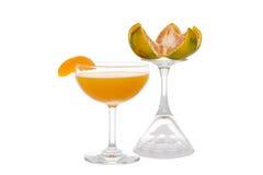 Orangensaft mit orange Scheibe stockfoto