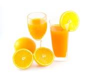 Orangensaft und Scheibe Stockfoto