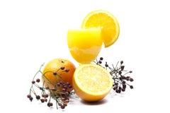 Orangensaft und Scheiben der Orange lokalisiert auf Weiß Lizenzfreie Stockbilder