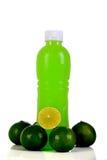Orangensaftflasche Getrennt auf weißem Hintergrund Stockbilder
