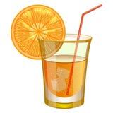 Orangensaftgetränk mit Frucht Stockfoto