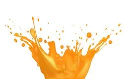 Orangensaftspritzen auf weißem Hintergrund Stockfotos