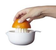 Orangensaftvorbereitungsfrucht Lizenzfreie Stockbilder