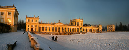 Orangerie in Kassel, Germany. Panoramic composition of this beautiful castle with snow in Winter. The Orangerie is part of the public Park Karlsaue stock image