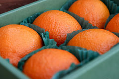 Oranges. Six oranges in a box stock photography