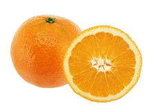 Oranges. Oranges duo isolated on white background royalty free stock images