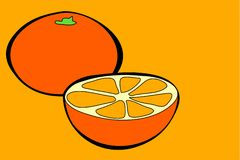 Oranges. In simple but bold drawing style royalty free illustration