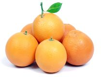 Oranges. On a row with blank space left Stock Image