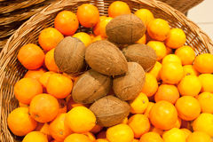 Oranges. Ripe oranges in a wattled basket Stock Photo