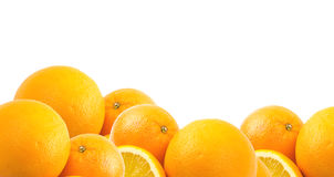 Oranges. Two and half oranges isolated on white background Stock Photo