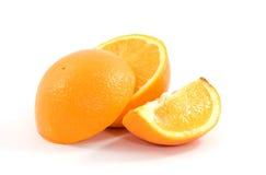 Oranges. Sliced oranges studio isolated on white stock images