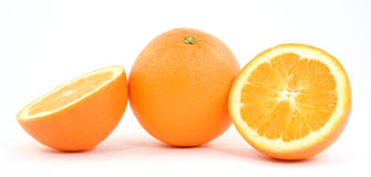 Oranges. Sliced oranges fruit studio isolated Stock Photos