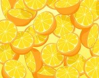 Oranges. Editable vector illustration of falling sliced oranges Stock Photography