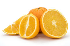 Oranges. Cross section of ripe oranges on white background. Clipping path incl Stock Image
