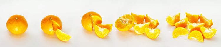 Oranges. Series of Oranges being sliced royalty free stock photography
