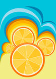 Oranges in an abstract image. Vector abstraction with a motif of oranges Royalty Free Stock Photo