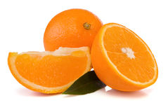 Oranges And Green Leaves Isolated On White Royalty Free Stock Image