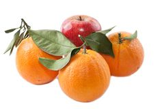Oranges and an apple Royalty Free Stock Photography