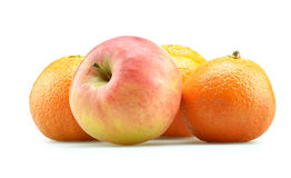 Oranges and apple isolated Royalty Free Stock Image