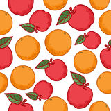 Oranges and apples seamless pattern Royalty Free Stock Photos