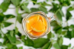 Oranges avec la menthe à la tasse de smoothies Photographie stock libre de droits