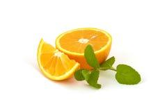 Oranges avec la menthe Photos libres de droits