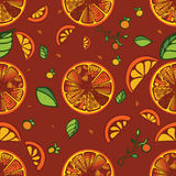 Oranges Background. Warm summer background with oranges and leaves Stock Photography