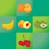 Oranges, bananas, peaches, apples, cherries - healthy fruit Royalty Free Stock Image