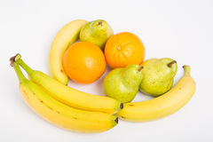 Oranges Bananas and Pears on White stock photography