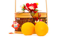 Oranges and basket Royalty Free Stock Photos