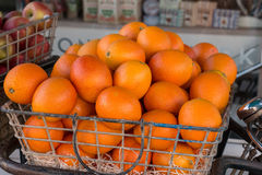 Oranges in Basket. Oranges in Bicycle Metal Basket Stock Photo