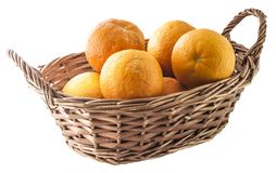 Oranges basket isolated Royalty Free Stock Photography