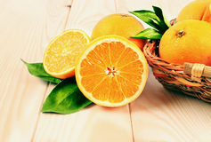 Oranges in the basket. On the table Royalty Free Stock Image