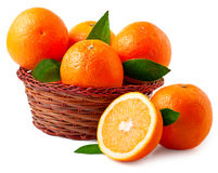 Oranges in basket on a white background Royalty Free Stock Images